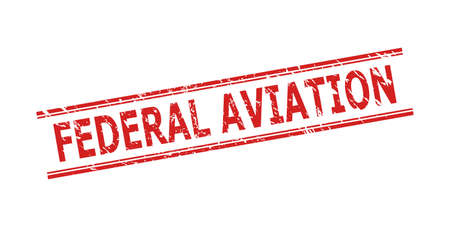 Red FEDERAL AVIATION watermark on a white background. Flat vector grunge seal stamp with FEDERAL AVIATION text between double parallel lines. Watermark with grunge style.