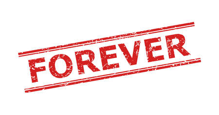 Red FOREVER stamp seal on a white background. Flat vector distress seal stamp with FOREVER text inside double parallel lines. Rubber imitation with unclean texture.
