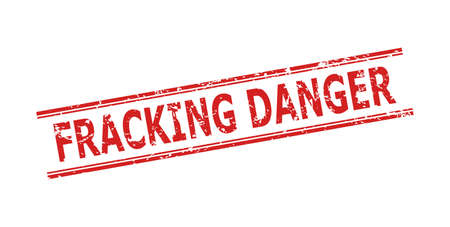 Red FRACKING DANGER stamp seal on a white background. Flat vector scratched seal stamp with FRACKING DANGER phrase inside double parallel lines. Imprint with distress texture.