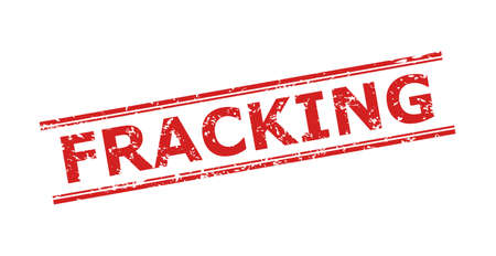 Red FRACKING stamp seal on a white background. Flat vector distress seal stamp with FRACKING title inside double parallel lines. Watermark with distress surface.