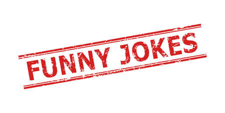 Red FUNNY JOKES seal stamp on a white background. Flat vector grunge seal stamp with FUNNY JOKES message inside double parallel lines. Watermark with scratched style. Vector Illustration