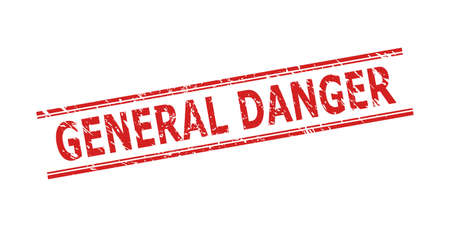 Red GENERAL DANGER stamp seal on a white background. Flat vector scratched seal stamp with GENERAL DANGER caption between double parallel lines. Watermark with grunged texture.
