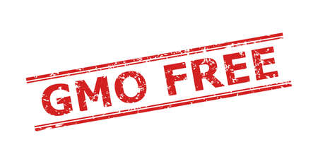 Red GMO FREE watermark on a white background. Flat vector scratched watermark with GMO FREE message inside double parallel lines. Watermark with grunge texture.