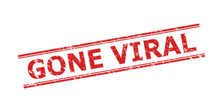 Red GONE VIRAL seal stamp on a white background. Flat vector grunge seal with GONE VIRAL caption inside double parallel lines. Watermark with grunge surface.