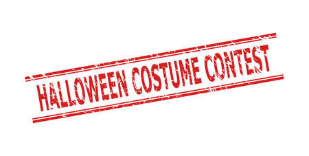 Red HALLOWEEN COSTUME CONTEST seal on a white background. Flat vector scratched seal stamp with HALLOWEEN COSTUME CONTEST caption inside double parallel lines. Imprint with scratched style.