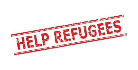 Red HELP REFUGEES stamp seal on a white background. Flat vector distress seal stamp with HELP REFUGEES text between double parallel lines. Rubber imitation with grunge surface.