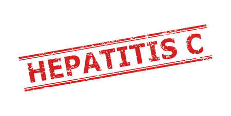 Red HEPATITIS C seal stamp on a white background. Flat vector grunge stamp with HEPATITIS C title inside double parallel lines. Rubber imitation with grunge surface. Vecteurs