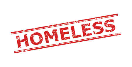 Red HOMELESS watermark on a white background. Flat vector grunge stamp with HOMELESS caption inside double parallel lines. Rubber imitation with grunge style.