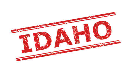 Red IDAHO stamp seal on a white background. Flat vector textured seal stamp with IDAHO phrase inside double parallel lines. Rubber imitation with unclean style.