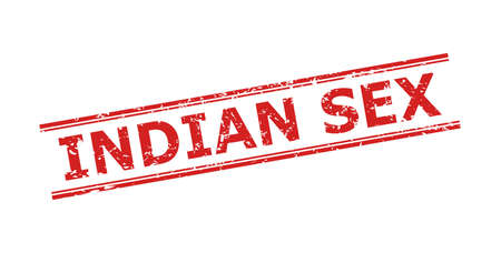 Red INDIAN SEX stamp seal on a white background. Flat vector textured seal stamp with INDIAN SEX title between double parallel lines. Watermark with unclean texture.  イラスト・ベクター素材