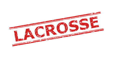 Red LACROSSE watermark on a white background. Flat vector distress watermark with LACROSSE message between double parallel lines. Watermark with distress texture. Vecteurs