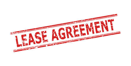 Red LEASE AGREEMENT seal stamp on a white background. Flat vector scratched seal stamp with LEASE AGREEMENT caption inside double parallel lines. Rubber imitation with grunge style. Vector Illustratie