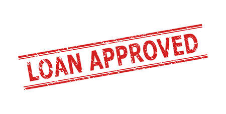 Red LOAN APPROVED stamp seal on a white background. Flat vector distress seal stamp with LOAN APPROVED caption between double parallel lines. Imprint with unclean surface.