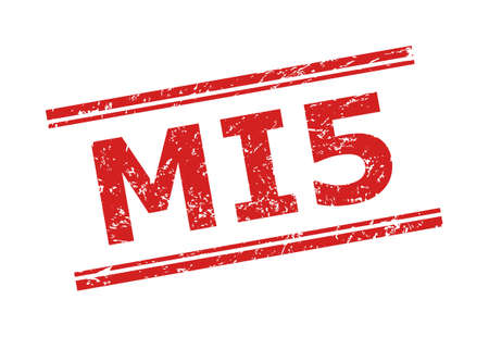 Red MI5 stamp seal on a white background. Flat vector grunge seal stamp with MI5 phrase between double parallel lines. Rubber imitation with grunged style.