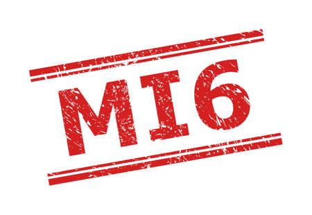 Red MI6 stamp seal on a white background. Flat vector grunge seal stamp with MI6 phrase between double parallel lines. Imprint with grunge surface.
