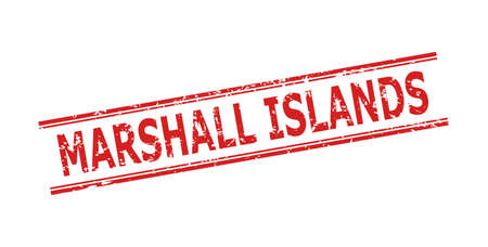 Red MARSHALL ISLANDS seal on a white background. Flat vector distress seal stamp with MARSHALL ISLANDS caption between double parallel lines. Rubber imitation with distress style.