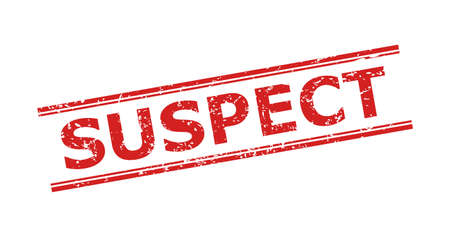Red SUSPECT seal stamp on a white background. Flat vector distress seal stamp with SUSPECT phrase inside double parallel lines. Watermark with unclean surface.