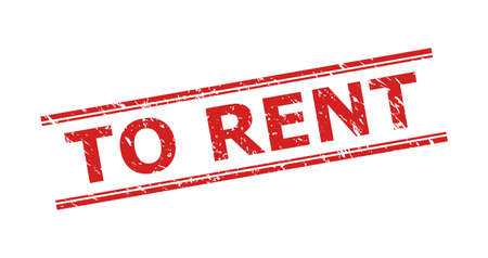 Red TO RENT seal on a white background. Flat vector grunge watermark with TO RENT text between double parallel lines. Watermark with grunge surface.