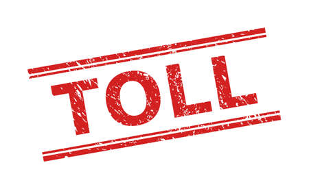 Red TOLL seal on a white background. Flat vector distress seal with TOLL message between double parallel lines. Imprint with distress texture.