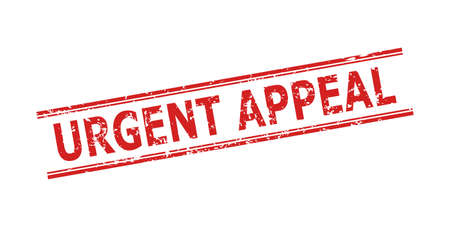 Red URGENT APPEAL watermark on a white background. Flat vector distress watermark with URGENT APPEAL message inside double parallel lines. Watermark with corroded surface.