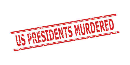Red US PRESIDENTS MURDERED watermark on a white background. Flat vector grunge seal stamp with US PRESIDENTS MURDERED title inside double parallel lines. Watermark with grunge surface.