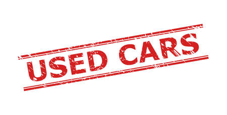 Red USED CARS seal on a white background. Flat vector scratched seal with USED CARS phrase between double parallel lines. Watermark with unclean surface.