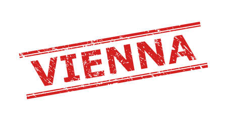 Red VIENNA stamp seal on a white background. Flat vector scratched seal stamp with VIENNA title between double parallel lines. Imprint with scratched surface. Ilustracja