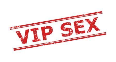 Red VIP SEX stamp on a white background. Flat vector scratched stamp with VIP SEX phrase inside double parallel lines. Imprint with grunged surface. Çizim