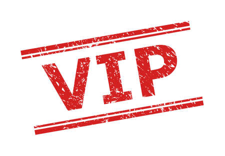 Red VIP seal stamp on a white background. Flat vector textured seal stamp with VIP text between double parallel lines. Rubber imitation with scratched surface.