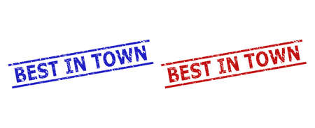 Blue and red BEST IN TOWN seals on a white background. Flat vector grunge watermarks with BEST IN TOWN text between two parallel lines. Watermarks with grunge surface.