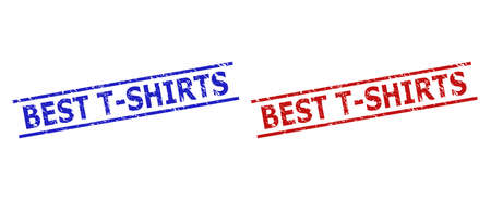 Blue and red BEST T-SHIRTS stamp seals on a white background. Flat vector scratched seals with BEST T-SHIRTS phrase inside parallel lines. Watermarks with grunge surface.