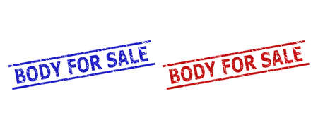 Blue and red BODY FOR SALE watermarks on a white background. Flat vector grunge watermarks with BODY FOR SALE phrase inside two parallel lines. Imprints with grunge style. Illusztráció