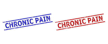 Blue and red CHRONIC PAIN watermarks on a white background. Flat vector distress watermarks with CHRONIC PAIN phrase between 2 parallel lines. Imprints with grunge texture.