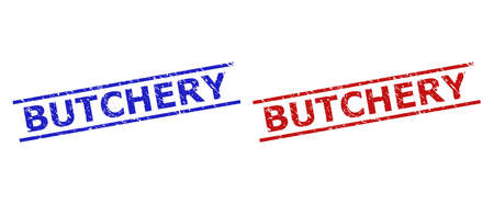 Blue and red BUTCHERY seal stamps on a white background. Flat vector textured seal stamps with BUTCHERY caption between two parallel lines. Rubber imitations with corroded style.