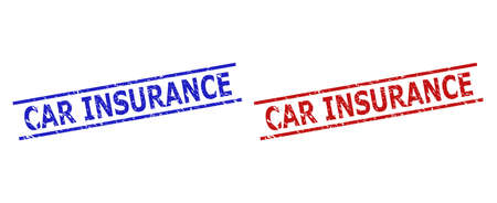 Blue and red CAR INSURANCE seal stamps on a white background. Flat vector grunge seal stamps with CAR INSURANCE phrase inside two parallel lines. Rubber imitations with corroded surface. Иллюстрация