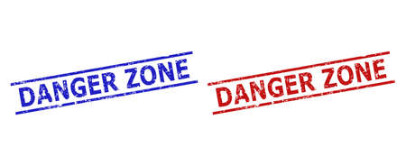 Blue and red DANGER ZONE seal stamps on a white background. Flat vector grunge seal stamps with DANGER ZONE title inside parallel lines. Rubber imitations with distress style.