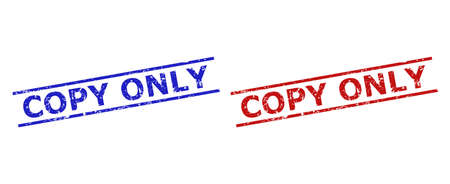 Blue and red COPY ONLY stamp seals on a white background. Flat vector textured watermarks with COPY ONLY message inside two parallel lines. Watermarks with unclean style.