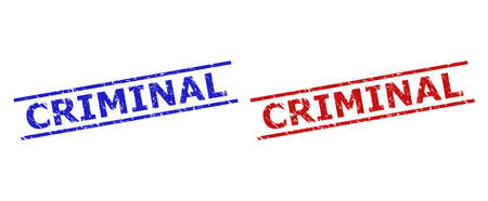 Blue and red CRIMINAL watermarks on a white background. Flat vector scratched stamps with CRIMINAL text between 2 parallel lines. Watermarks with corroded surface.