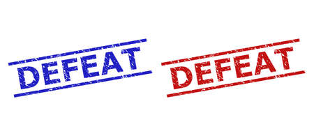 Blue and red DEFEAT seal stamps on a white background. Flat vector distress seal stamps with DEFEAT text between two parallel lines. Watermarks with unclean style. Vettoriali