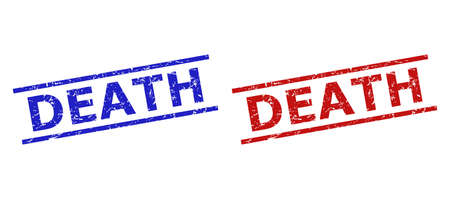 Blue and red DEATH seal stamps on a white background. Flat vector scratched seal stamps with DEATH phrase inside two parallel lines. Watermarks with unclean style.