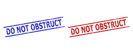 Blue and red DO NOT OBSTRUCT watermarks on a white background. Flat vector distress seal stamps with DO NOT OBSTRUCT text between parallel lines. Watermarks with unclean style.