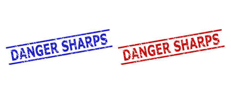 Blue and red DANGER SHARPS seal stamps on a white background. Flat vector distress seal stamps with DANGER SHARPS phrase between 2 parallel lines. Watermarks with grunge style.