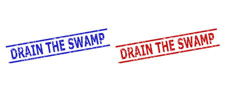 Blue and red DRAIN THE SWAMP stamps on a white background. Flat vector scratched stamps with DRAIN THE SWAMP title inside 2 parallel lines. Rubber imitations with distress style.