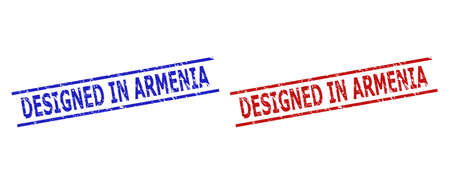 Blue and red DESIGNED IN ARMENIA seals on a white background. Flat vector grunge watermarks with DESIGNED IN ARMENIA message between two parallel lines. Watermarks with grunge surface.