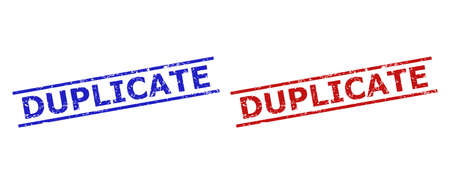 Blue and red DUPLICATE stamp seals on a white background. Flat vector distress watermarks with DUPLICATE caption inside 2 parallel lines. Watermarks with corroded surface.  イラスト・ベクター素材