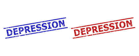Blue and red DEPRESSION stamps on a white background. Flat vector distress stamps with DEPRESSION text inside two parallel lines. Imprints with distress style.