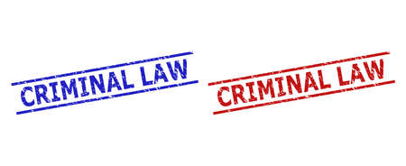 Blue and red CRIMINAL LAW watermarks on a white background. Flat vector distress watermarks with CRIMINAL LAW caption between 2 parallel lines. Imprints with distress texture.