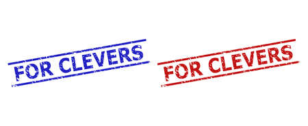 Blue and red FOR CLEVERS watermarks on a white background. Flat vector distress watermarks with FOR CLEVERS phrase inside 2 parallel lines. Watermarks with scratched style.