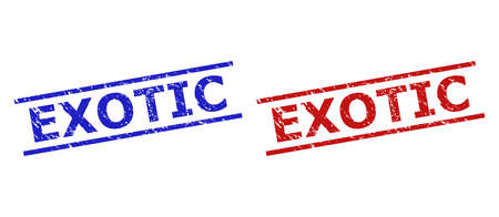 Blue and red EXOTIC watermarks on a white background. Flat vector distress watermarks with EXOTIC message between parallel lines. Watermarks with distress style.