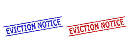 Blue and red EVICTION NOTICE watermarks on a white background. Flat vector scratched watermarks with EVICTION NOTICE caption between 2 parallel lines. Watermarks with unclean texture.
